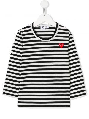 С рукавами хлопковая белая футболка с круглым вырезом Comme Des Garçons Play Kids