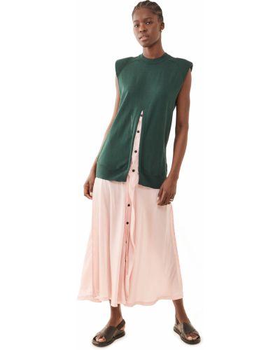 Зеленое платье макси с декольте стрейч Toga Pulla