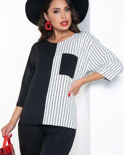 Черная комбинированная блузка Lady Taiga