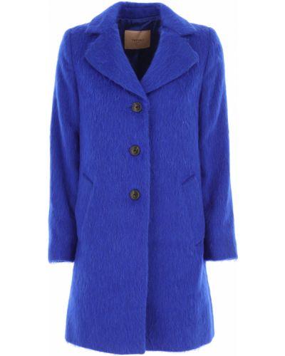 Niebieski płaszcz bawełniany z długimi rękawami Twin Set By Simona Barberi