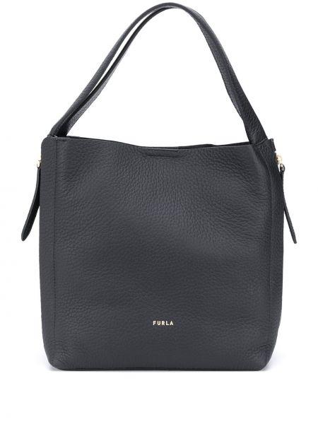 Черная сумка-тоут круглая на молнии металлическая Furla