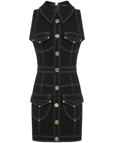 Czarna sukienka midi elegancka Balmain
