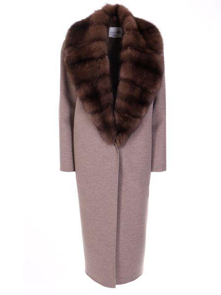 Свободное шерстяное бежевое пальто классическое с воротником Manzoni 24
