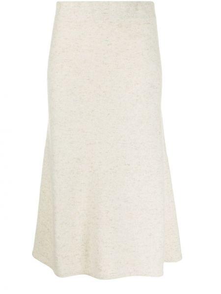 Кашемировая расклешенная с завышенной талией юбка миди с поясом Agnona