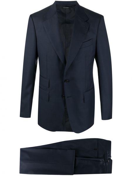Jednorzędowy bawełna niebieski bielizna garnitur Tom Ford