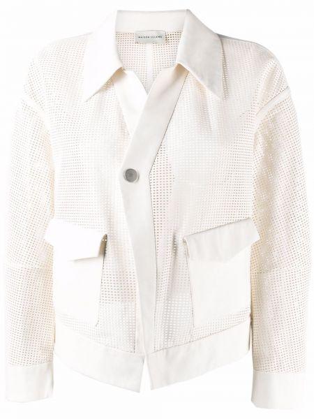 Белая кожаная куртка с воротником Maison Ullens