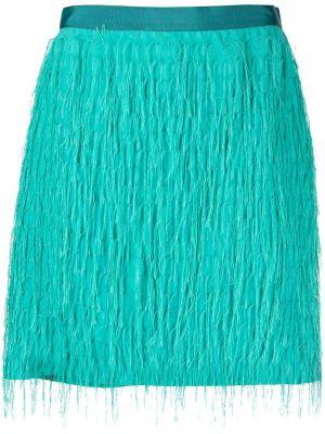 Zielony z wysokim stanem spódnica mini frędzlami z wiskozy Pinko