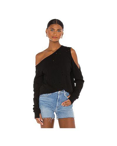 Хлопковый черный свитер крупной вязки с вырезом Michael Lauren