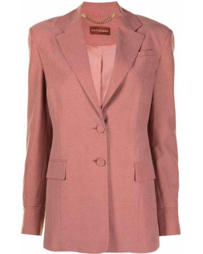 Розовый однобортный удлиненный пиджак на пуговицах Altuzarra