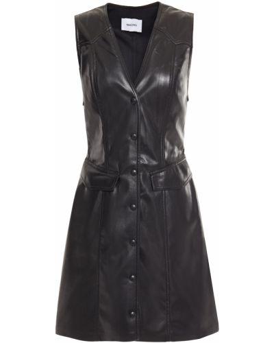 Кожаное черное платье мини с подкладкой Nanushka