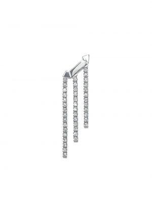 Białe kolczyki srebrne z diamentem Eera