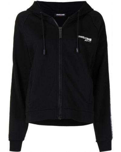 Черная спортивная куртка с капюшоном на молнии Roberto Cavalli