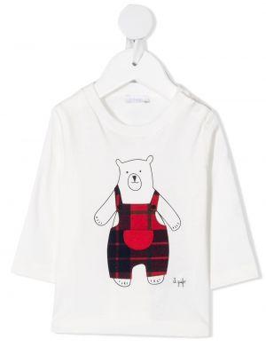 Прямая белая футболка с длинными рукавами Il Gufo