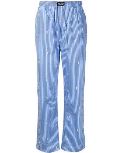 Niebieska piżama bawełniana z haftem Polo Ralph Lauren