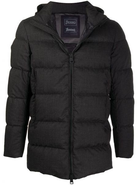 Klasyczny czarny wełniany długi płaszcz z długimi rękawami Herno