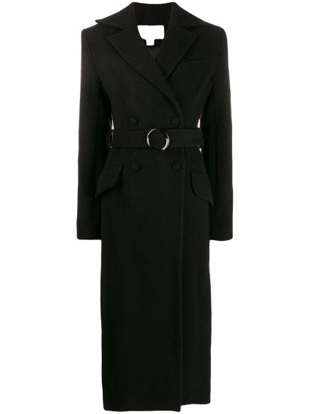 Шерстяное черное длинное пальто двубортное Matériel