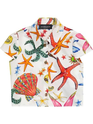 Biała koszula bawełniana z printem Versace Kids