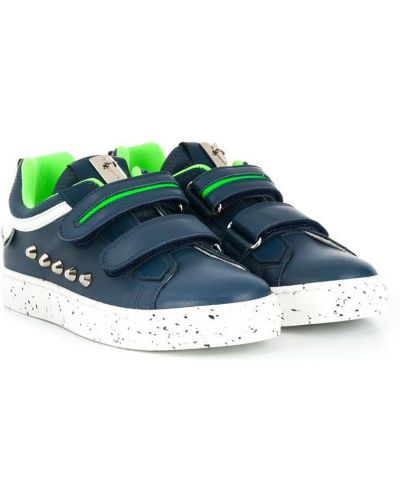 Золотистые синие кожаные кроссовки на липучках Cesare Paciotti Kids