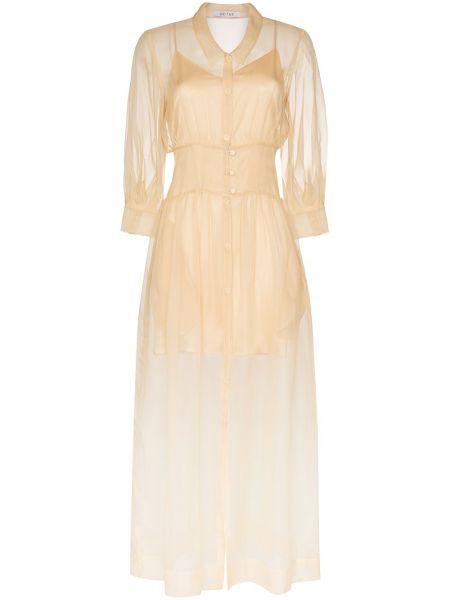 Шелковое приталенное платье на пуговицах с воротником Deitas