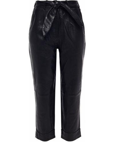 Прямые кожаные черные укороченные брюки Walter Baker