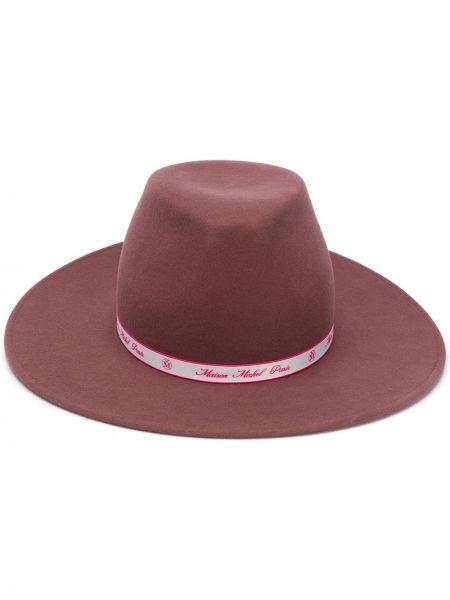 Wełniany różowy kapelusz bezpłatne cięcie Maison Michel