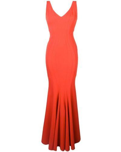 Платье с V-образным вырезом - оранжевое Zac Zac Posen