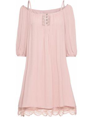 Летнее платье розовое на бретелях Bonprix