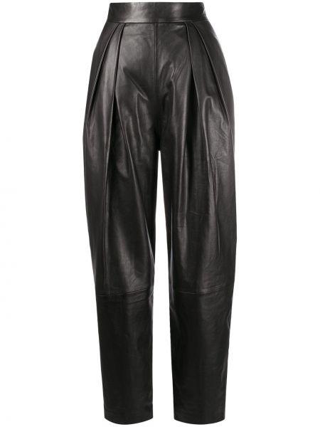 Брючные черные брюки из овчины с карманами Alberta Ferretti