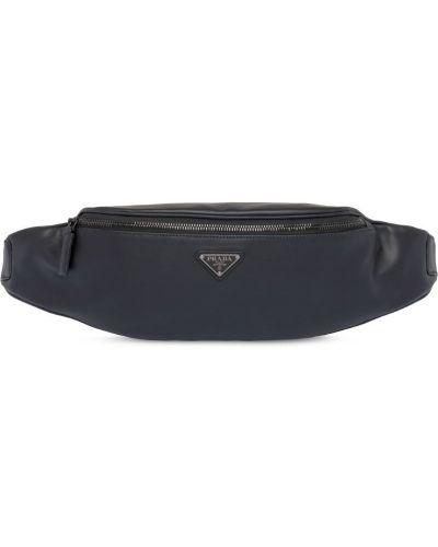 Поясная сумка черная на молнии Prada