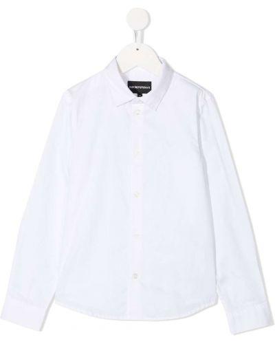 Хлопковая с рукавами белая классическая рубашка Emporio Armani Kids