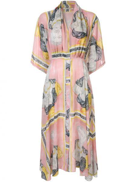 С рукавами шелковое розовое платье миди на пуговицах Tata Naka