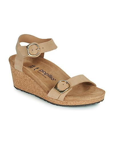 Beżowe sandały z klamrą Papillio