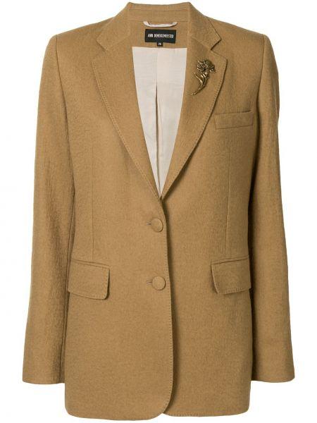 Шерстяной коричневый удлиненный пиджак на пуговицах Ann Demeulemeester