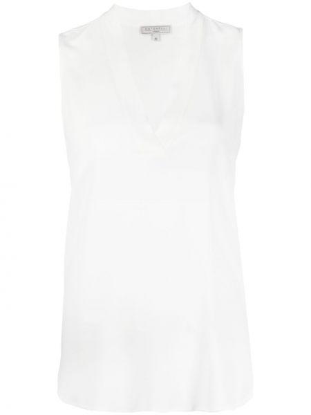 Шелковая белая блузка без рукавов Antonelli