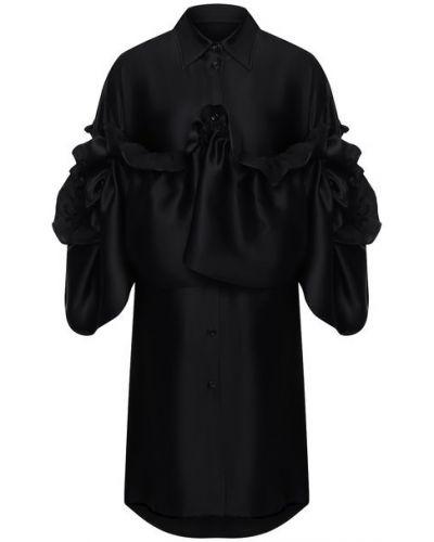 Платье из вискозы - черное Mm6