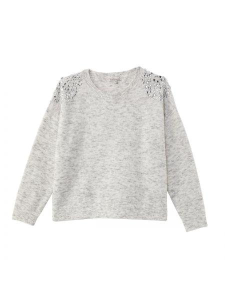 С рукавами серый акриловый пуловер со стразами Best Mountain