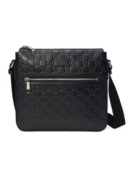 Черная кожаная сумка на плечо на молнии Gucci
