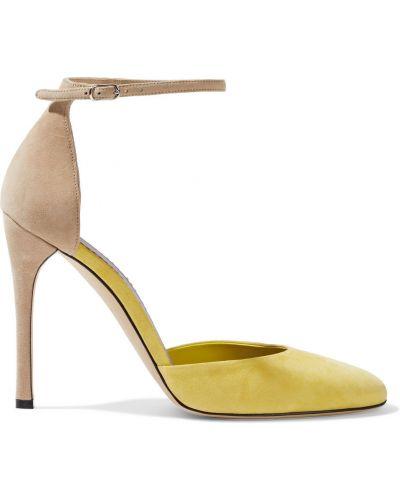Czółenka zamszowe - żółte Victoria Beckham