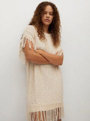 Повседневное бежевое платье Violeta By Mango