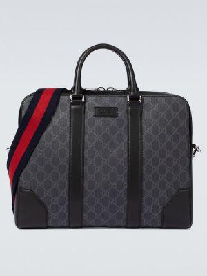 Ватный парусиновый черный портфель Gucci