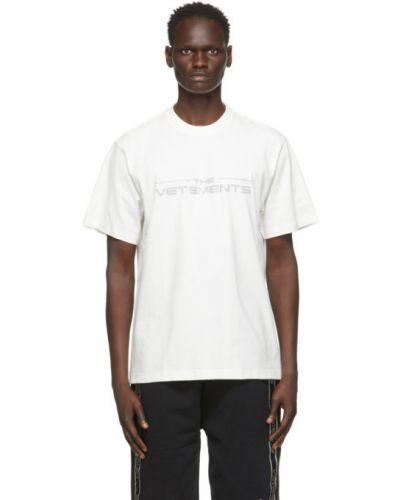 Белая футболка с воротником с вышивкой Vetements