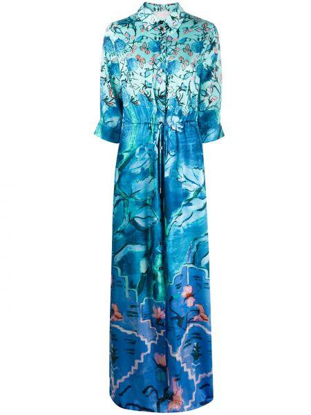 Платье с поясом на пуговицах с цветочным принтом Peter Pilotto