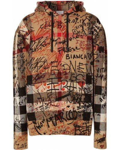Beżowy wełniany bluza z kapturem z kapturem z długimi rękawami Burberry