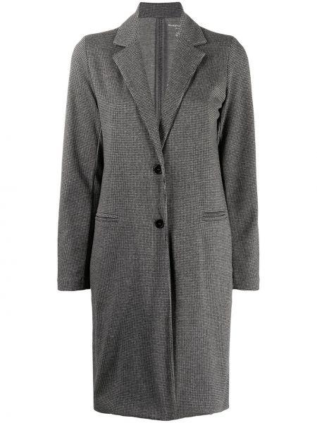 С рукавами однобортное серое длинное пальто с карманами Majestic Filatures