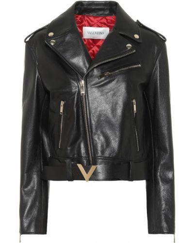 Черная кожаная куртка байкерская из натуральной кожи Valentino