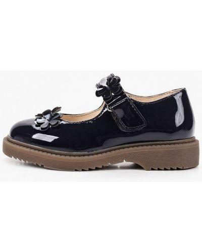 Лаковые синие кожаные туфли Keddo