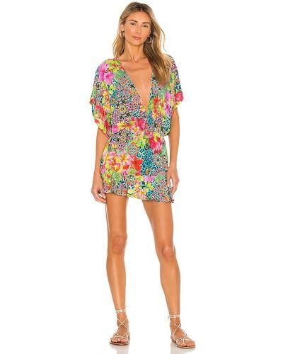 Платье с V-образным вырезом - розовое Luli Fama