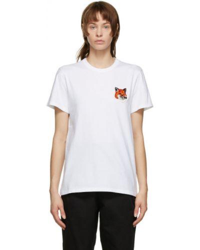 Белая бархатная рубашка с воротником с заплатками Maison Kitsuné