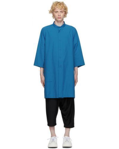Синяя рубашка с воротником с заплатками с манжетами 132 5. Issey Miyake