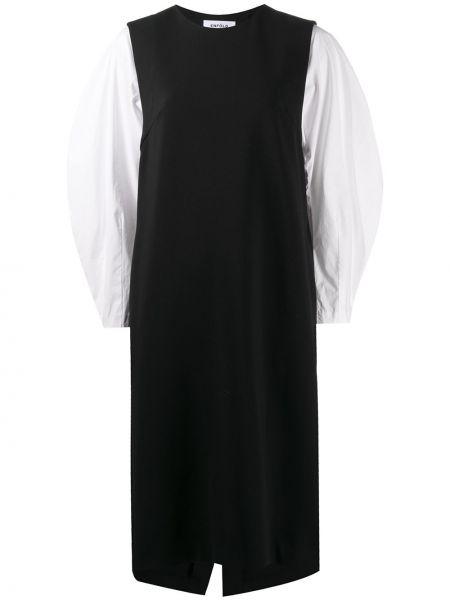 Z rękawami bawełna czarny sukienka midi okrągły dekolt Enfold